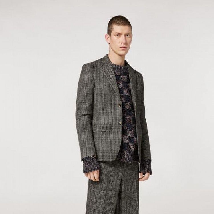 WOOL MICRO-CHECK JACKET
