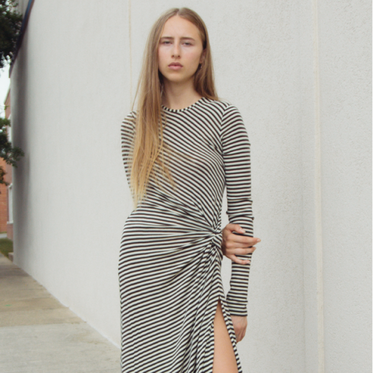 Long Sleeve Stripe Knot Dress