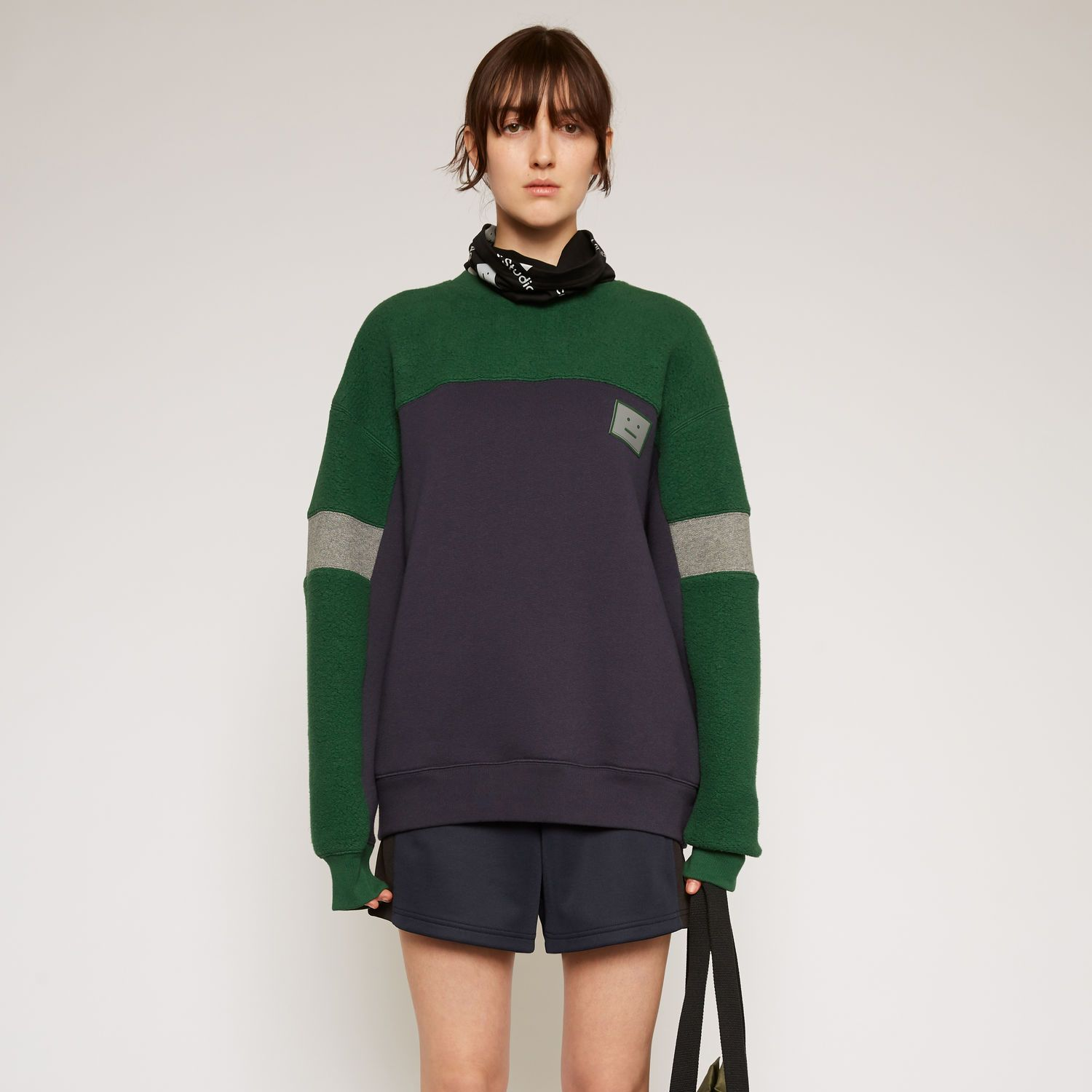 Contrast-panel fleece sweatshirt