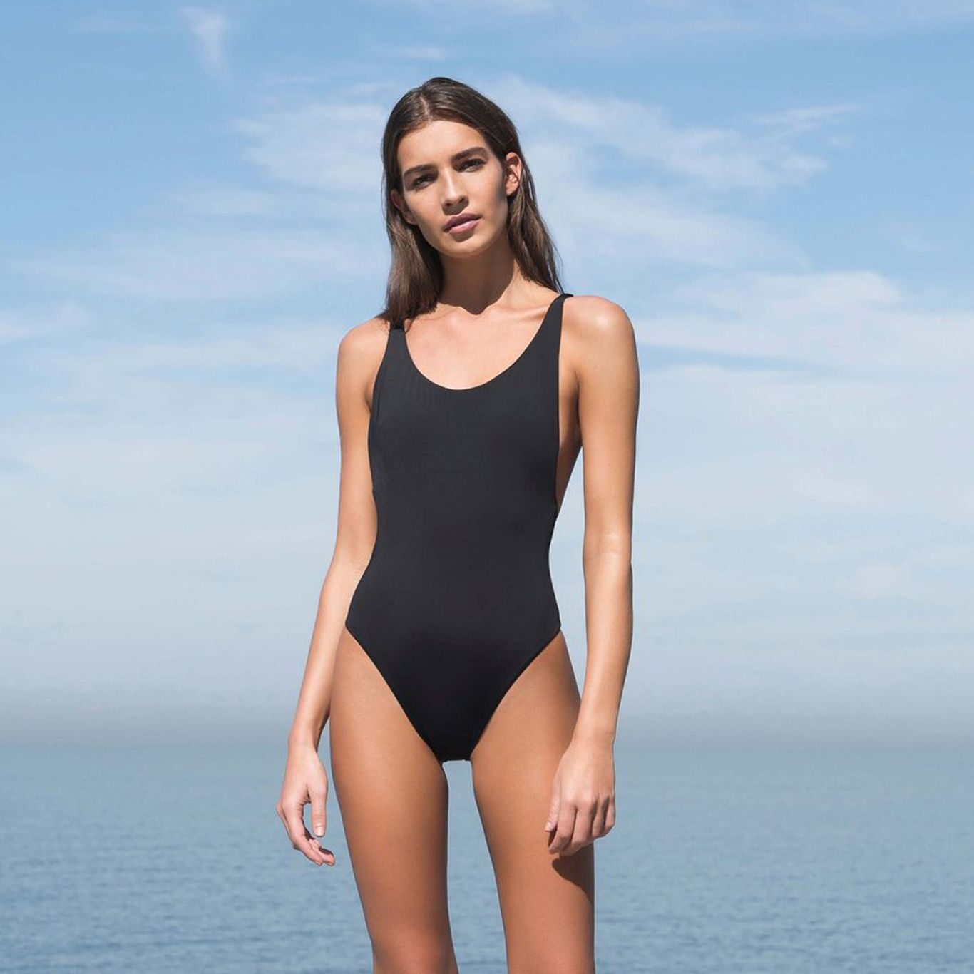 THIN STRAP MAILLOT SWIMSUIT